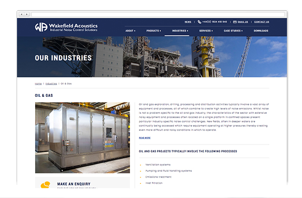 wakefield acoustics website in a browser