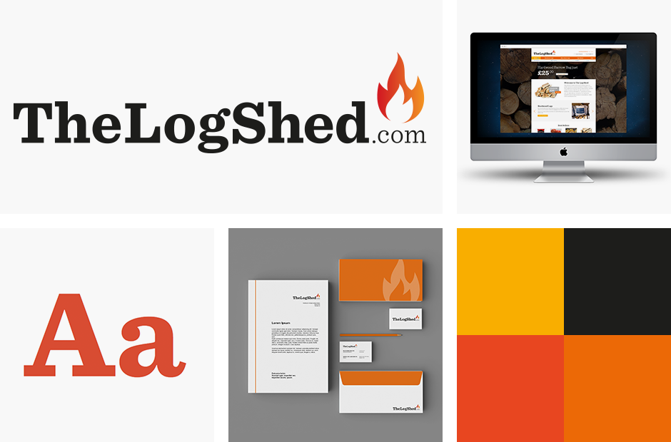the log shed branding including logo and fonts etc.