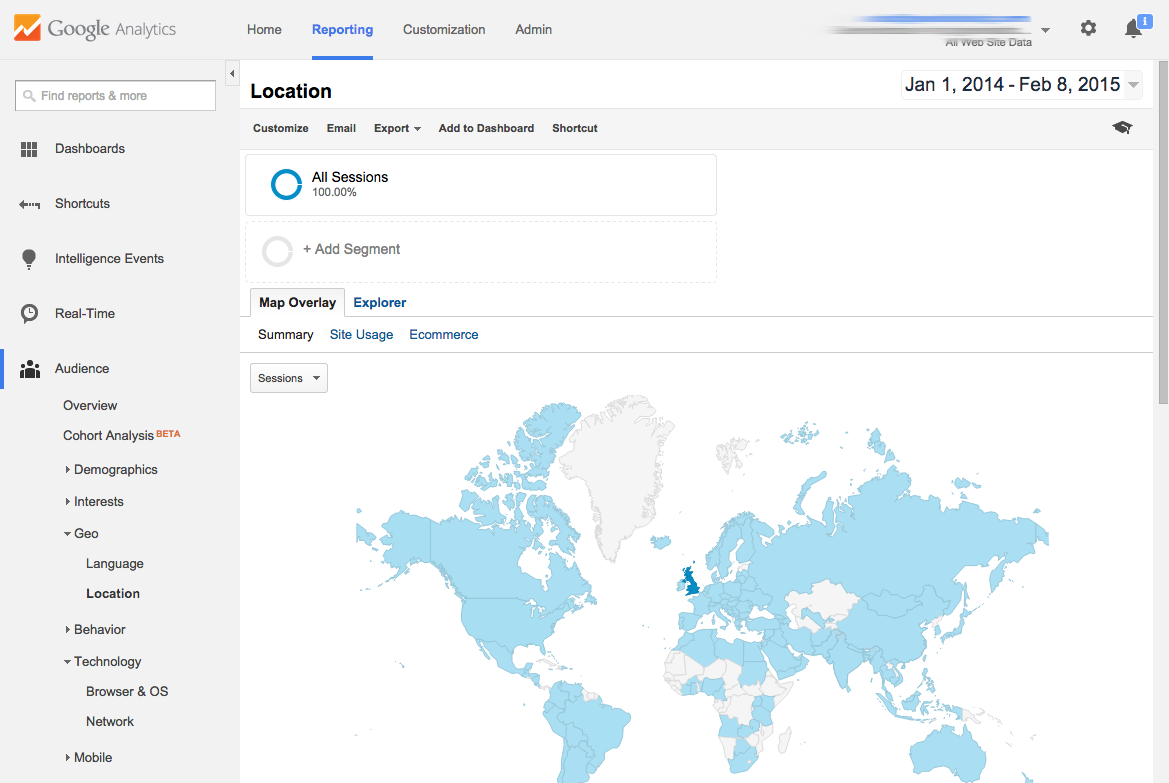 Google Analytics Region