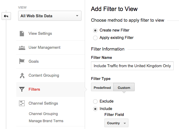 applying a filter within google analytics