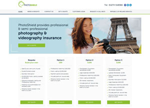 screenshot of photoshield website