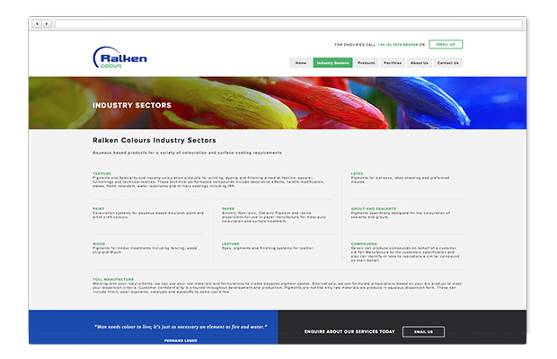 ralken colours website in browser