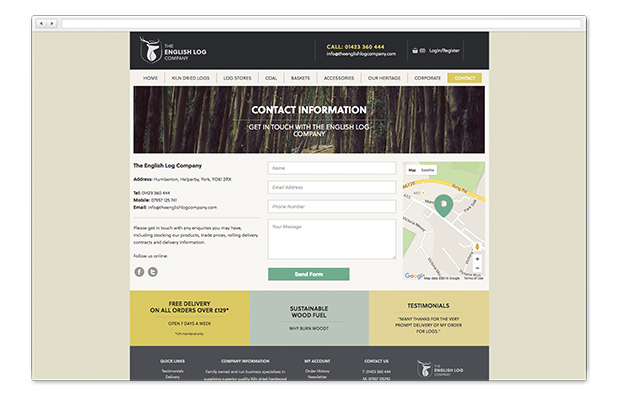 english log company on browser